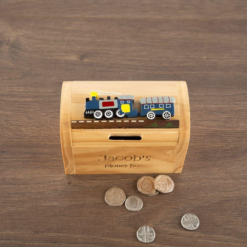 Wooden Train Money Box With Name Forever Bespoke