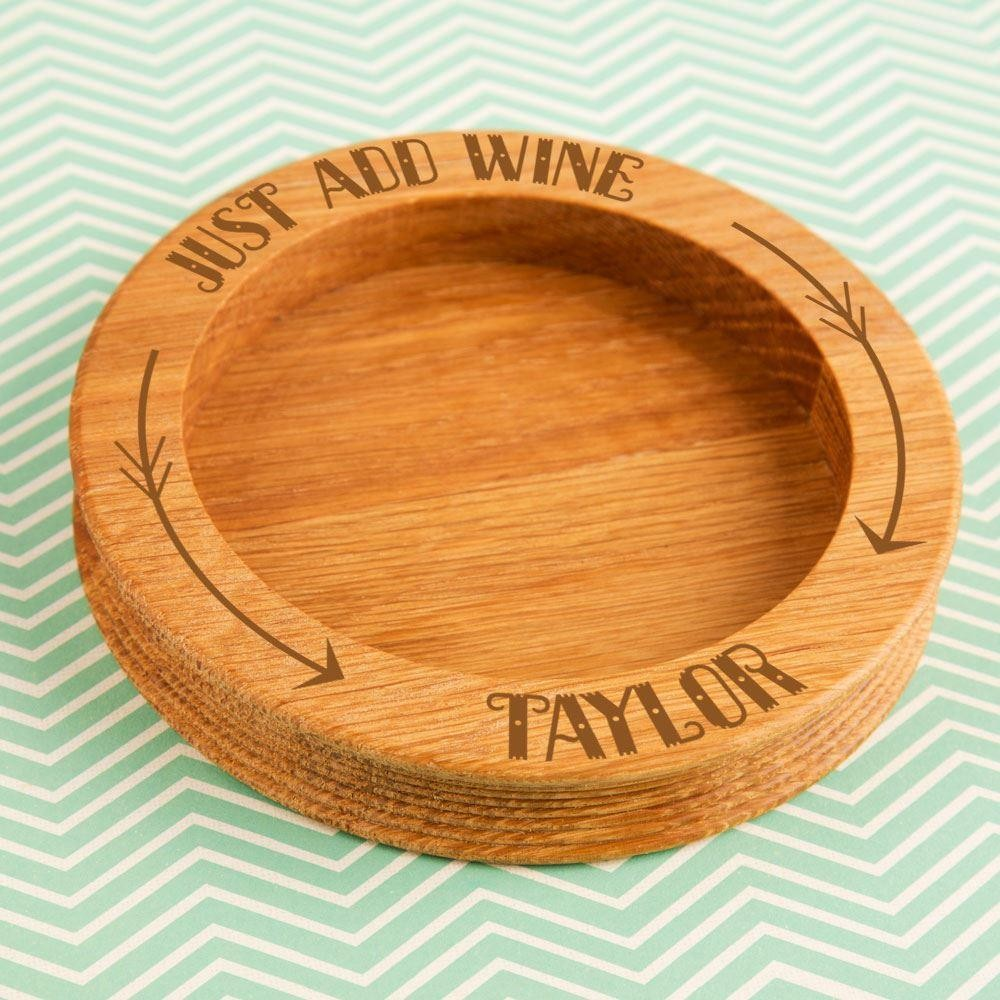 Just Add Wine Engraved Bottle Coaster