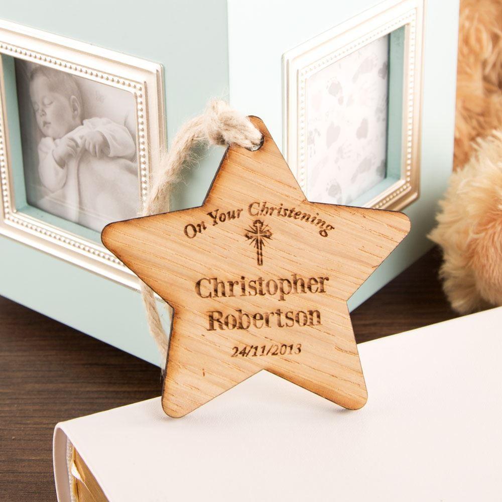 Christening Cross Wooden Star