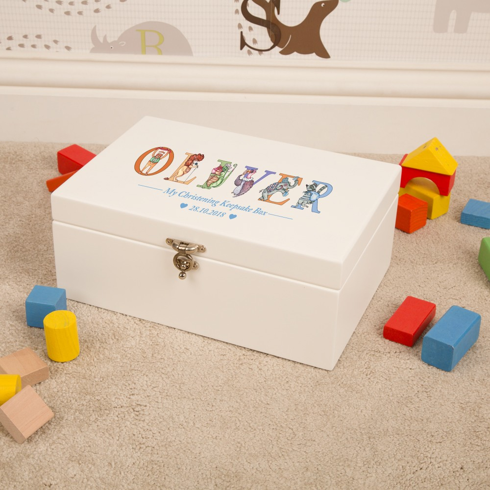 Bespoke Christening Keepsake Box for a Boy