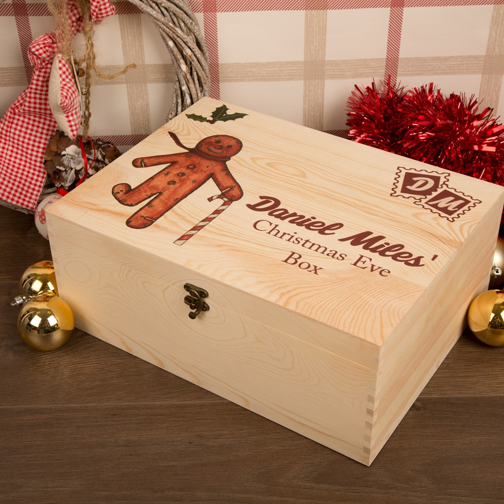 Bespoke Christmas Eve Wooden Box with Gingerbread Man Design