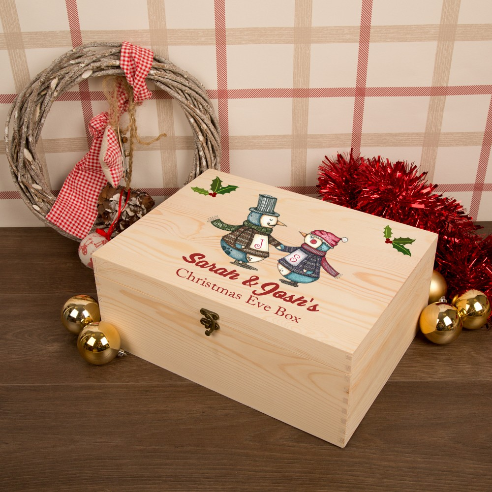 Couples Personalised His and Hers Penguin themed Christmas Eve Box
