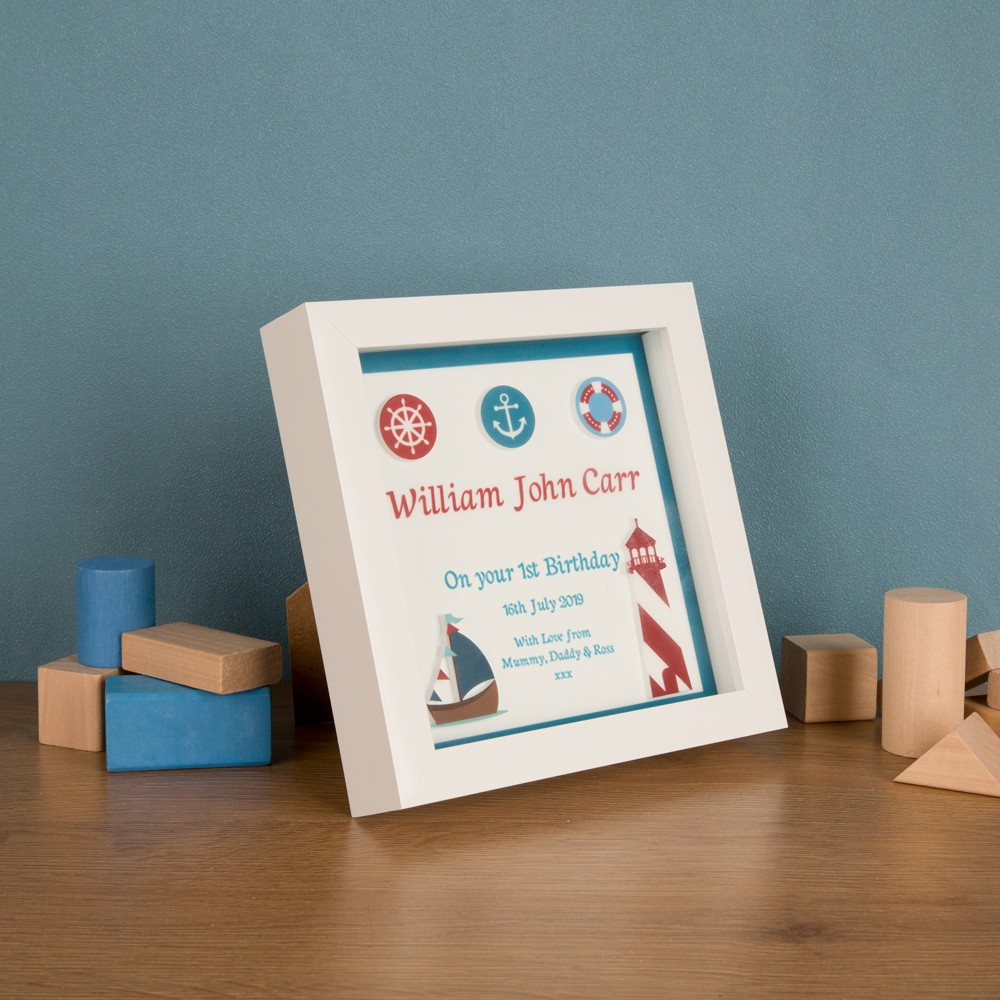 Bespoke 3D Nautical First Birthday Keepsake Box Frame
