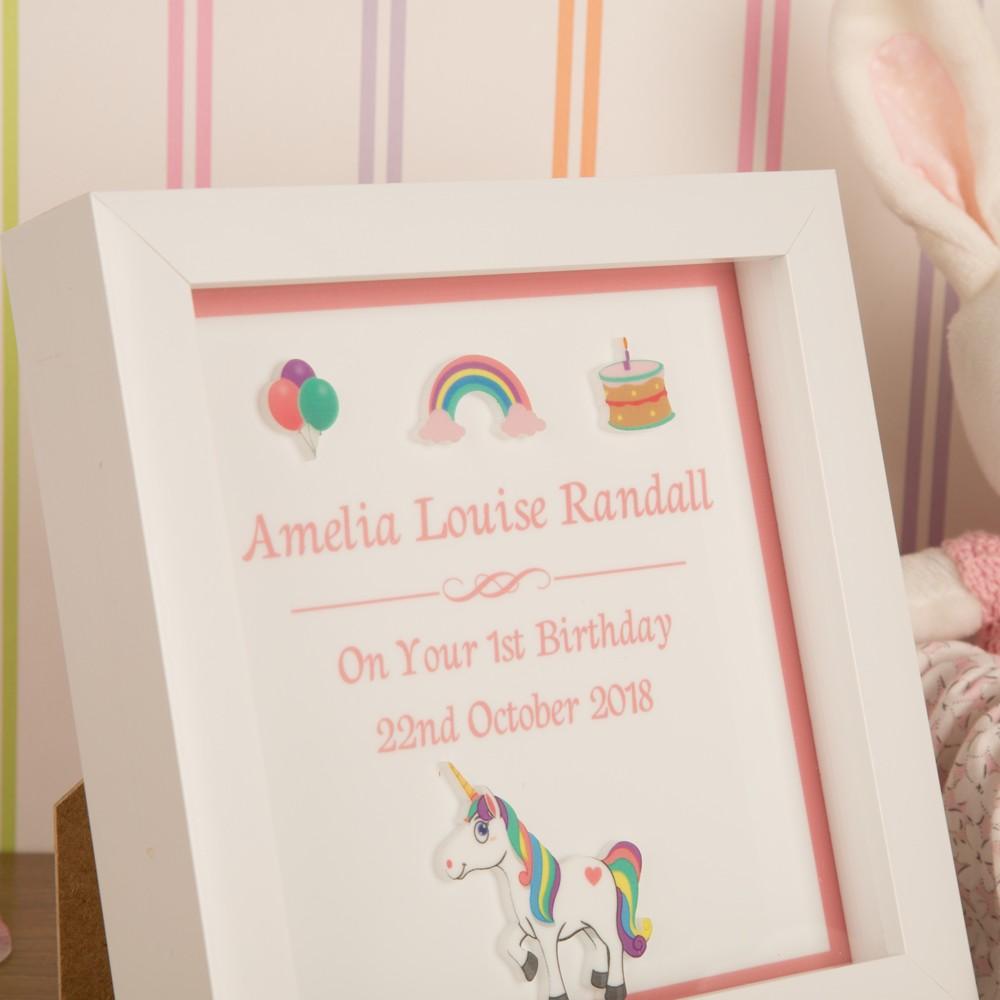 Personalised 3D Girls First Birthday Unicorn Keepsake Box Frame