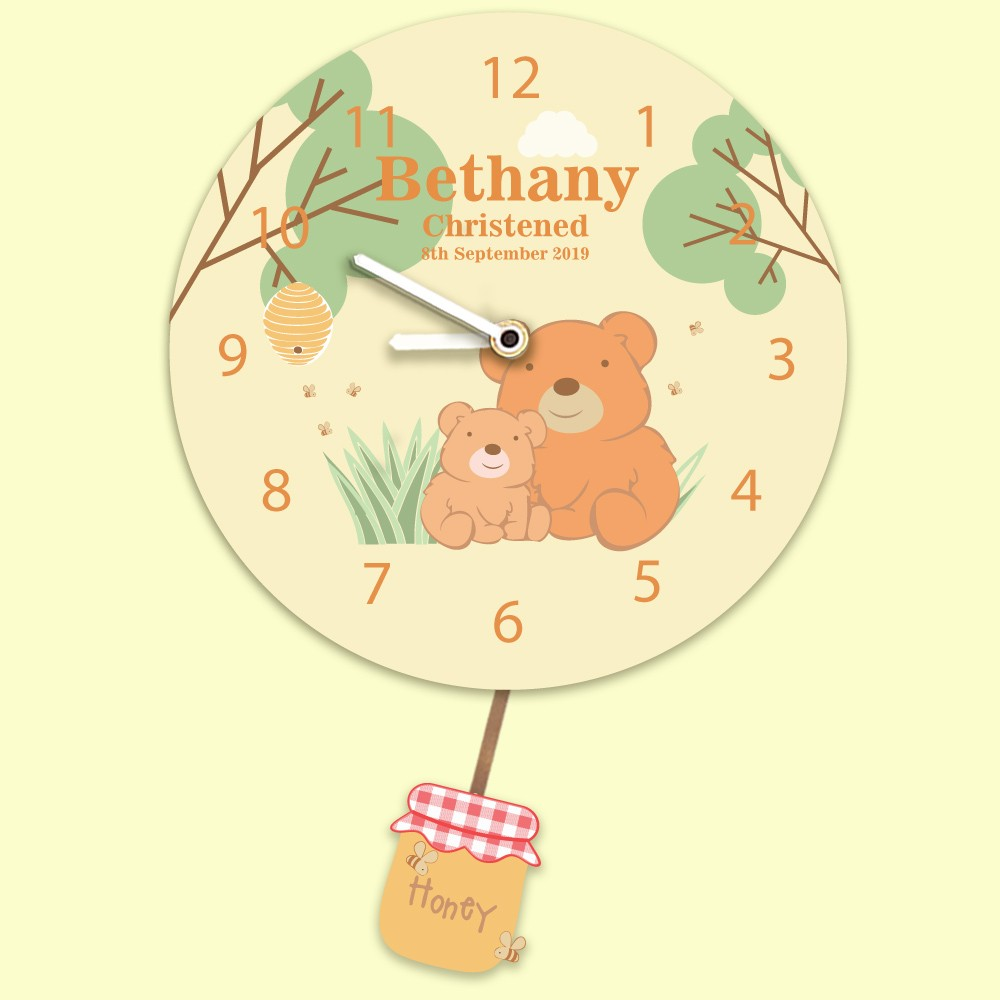 Honey Bear Personalised Christening Clock for a Baby Boy or Girl. Any Occasion.