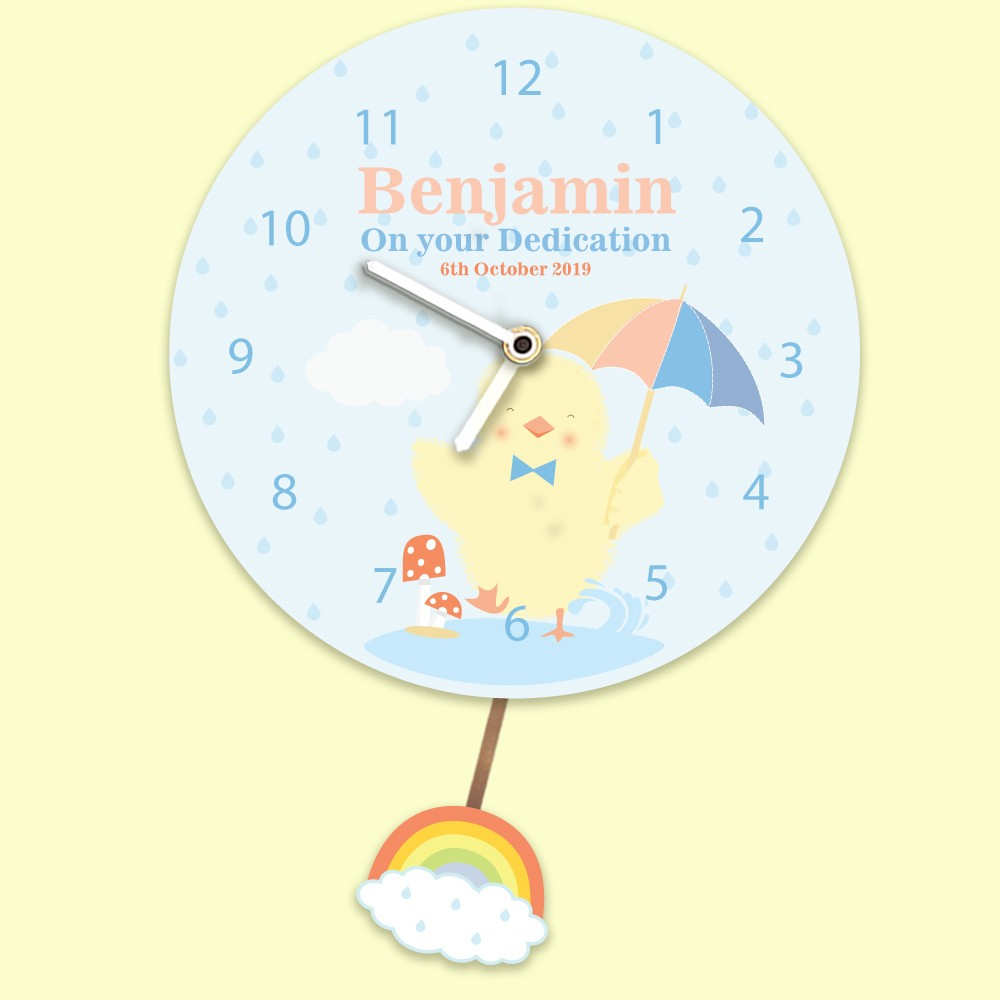 Baby Boy Personalised Any Occasion Wall Clock. Baby Chick Splashing in Rain