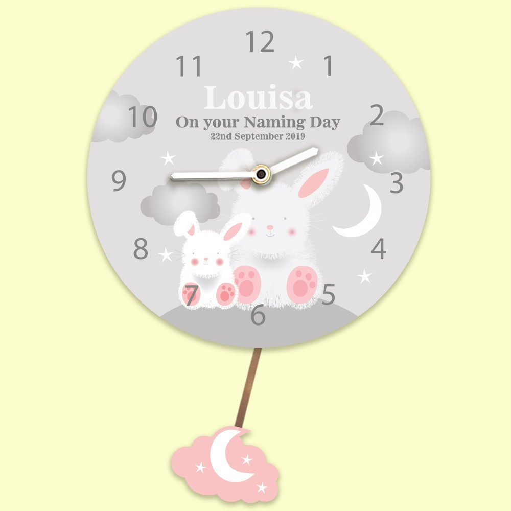 Starry Night Bunny Rabbit Baby Girls Personalised Pendulum Wall Clock. Any Occasion