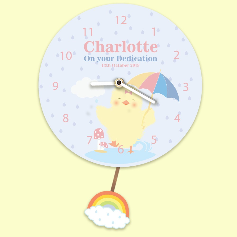 Baby Girl Personalised Any Occasion Clock. Little Chick Splashing In Rain