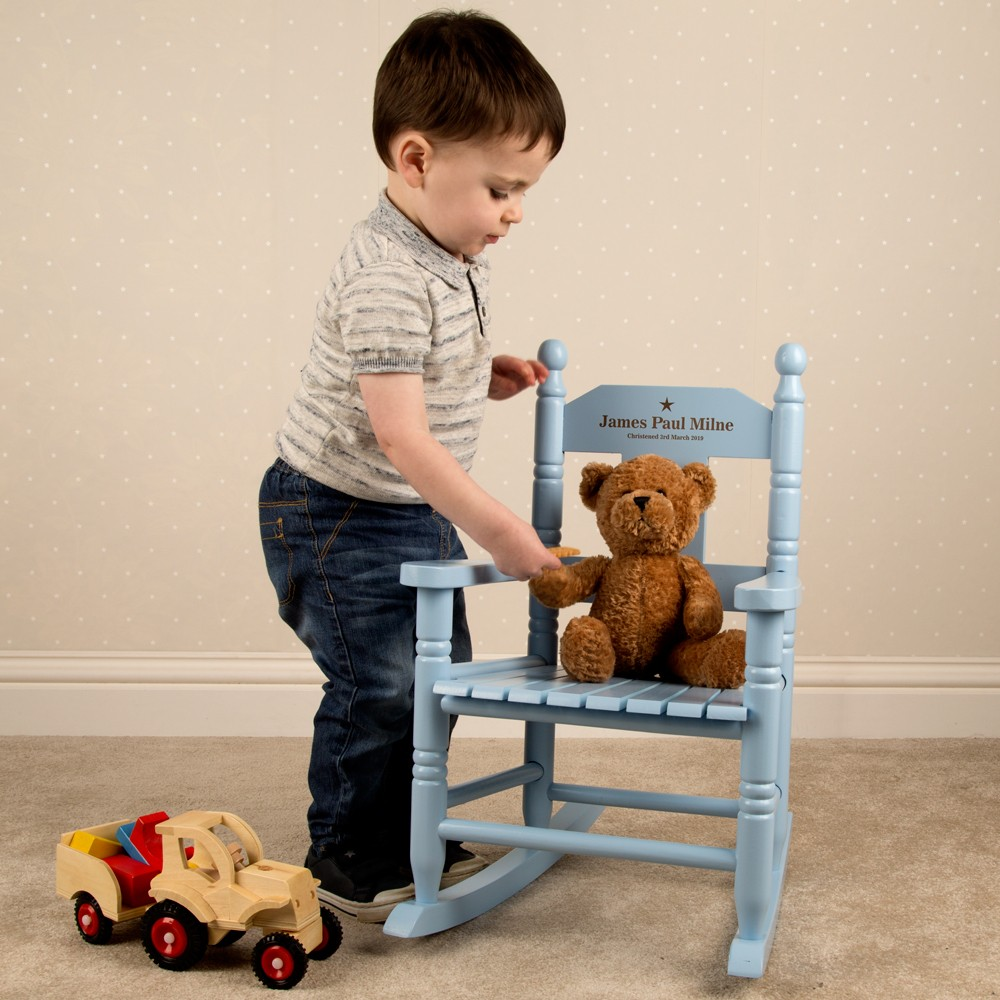 Toddlers Blue Rocking Chair. Engraved Wooden Chair.