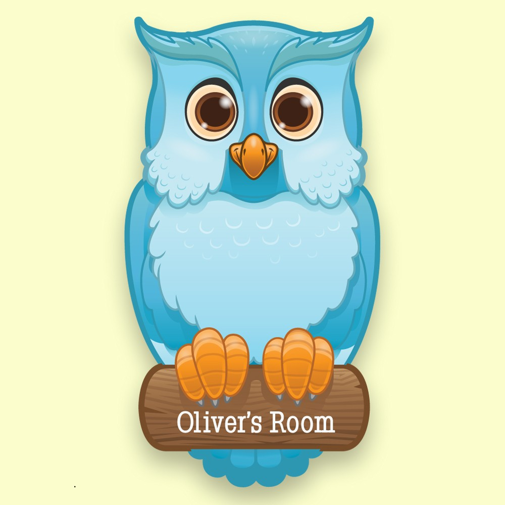 Personalised Blue Owl Kids Bedroom Door Plaque