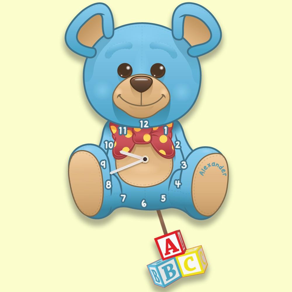 Blue Teddy Bear Personalised Baby Boy Nursery Wall Clock