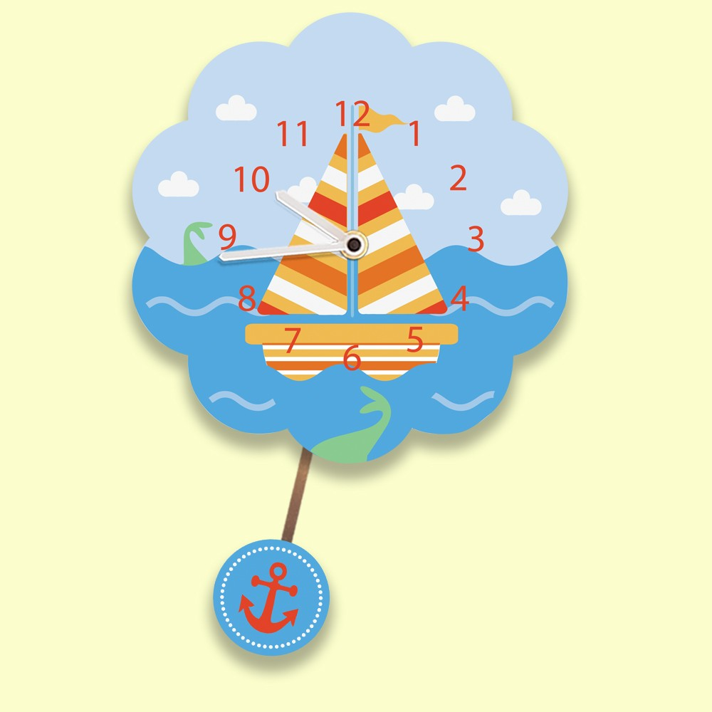 Sailboat Personalised Silent Wall Clock For Boys