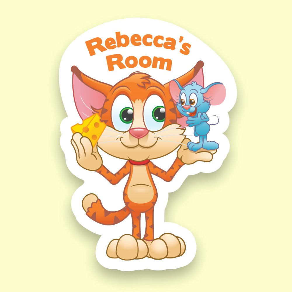UV Printed Cat and Mouse Bedroom Door Plaque for Kids