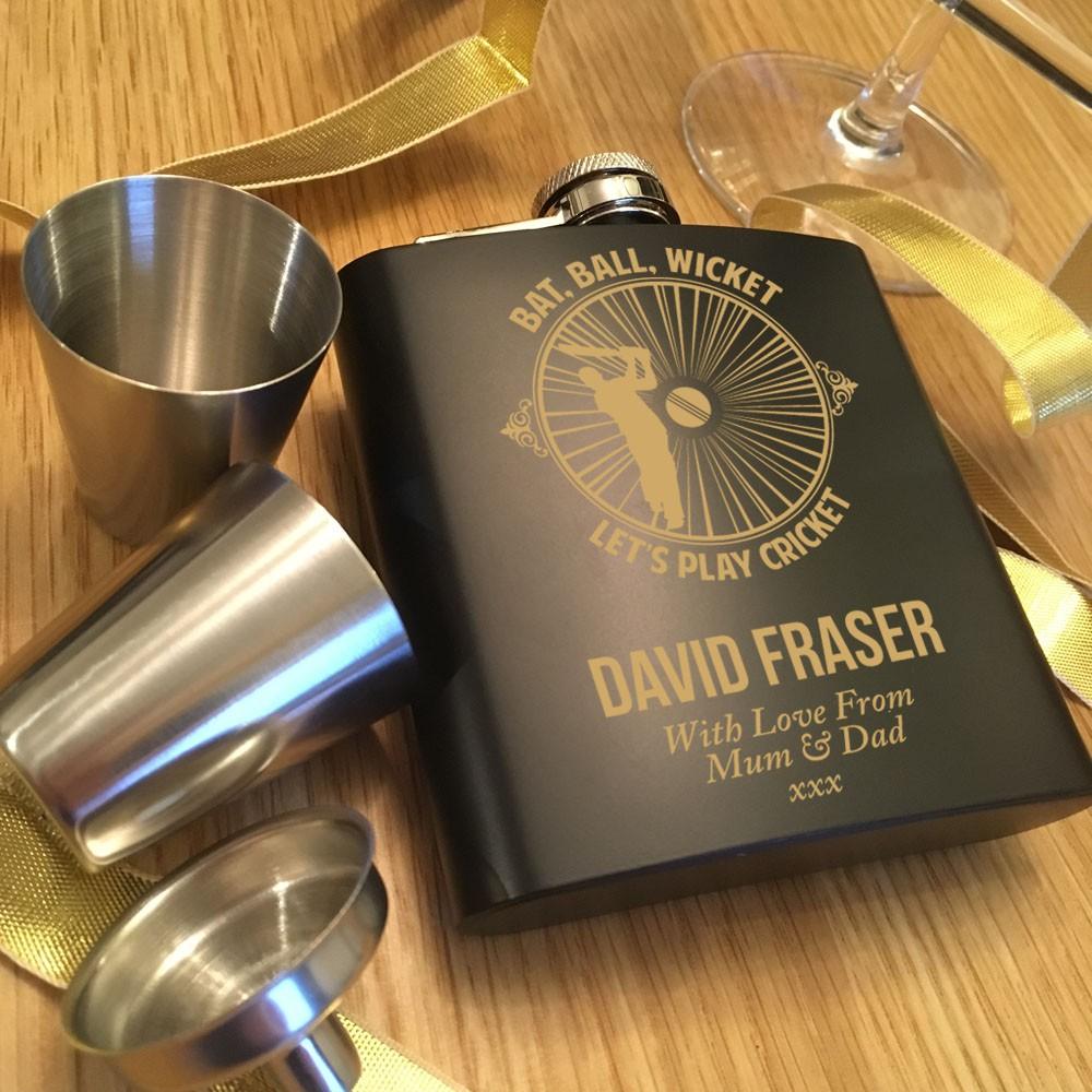 Bespoke Engraved Black Hip Flask Gift Set with Cricket Design