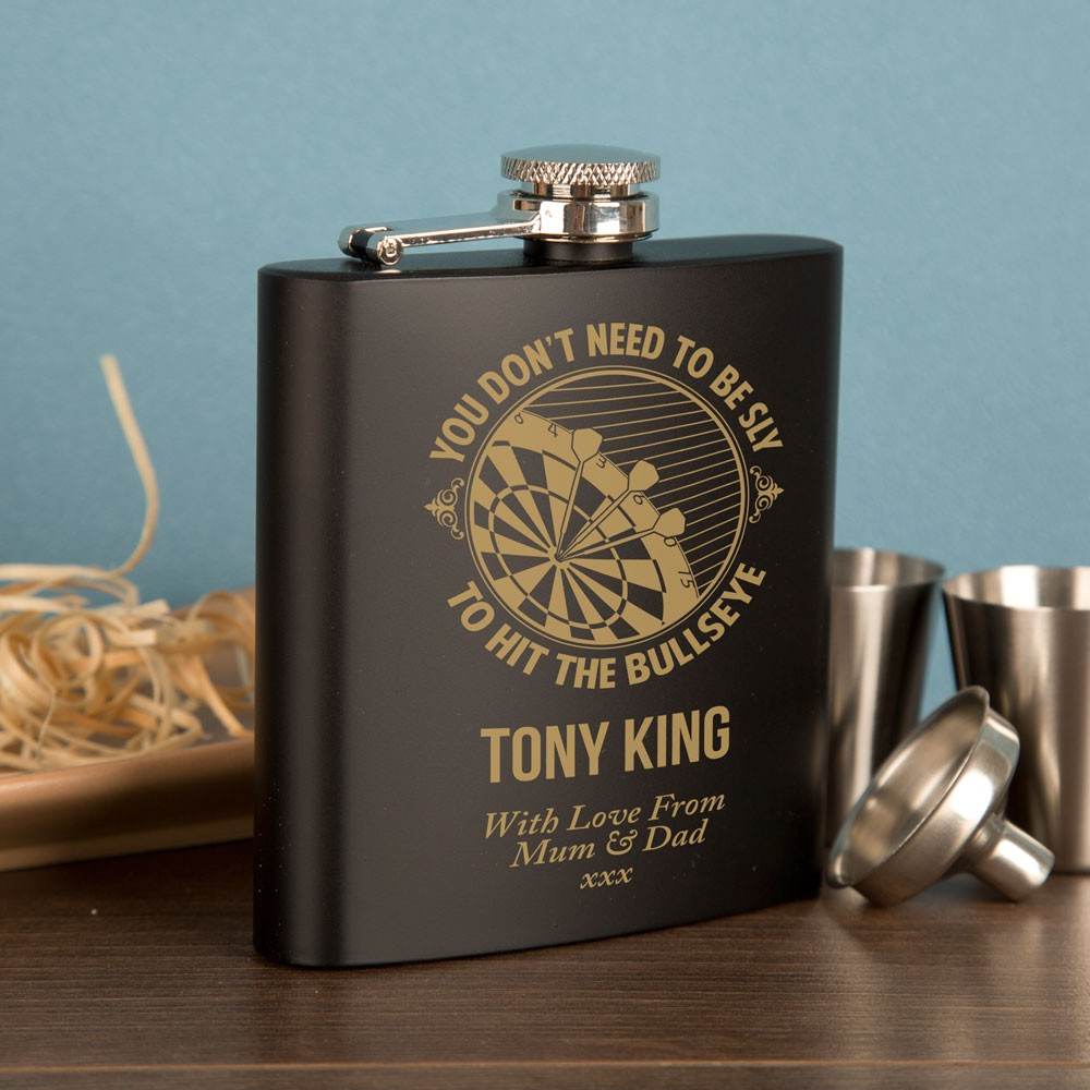 Personalised Engraved Darts design black hipflask gift set.