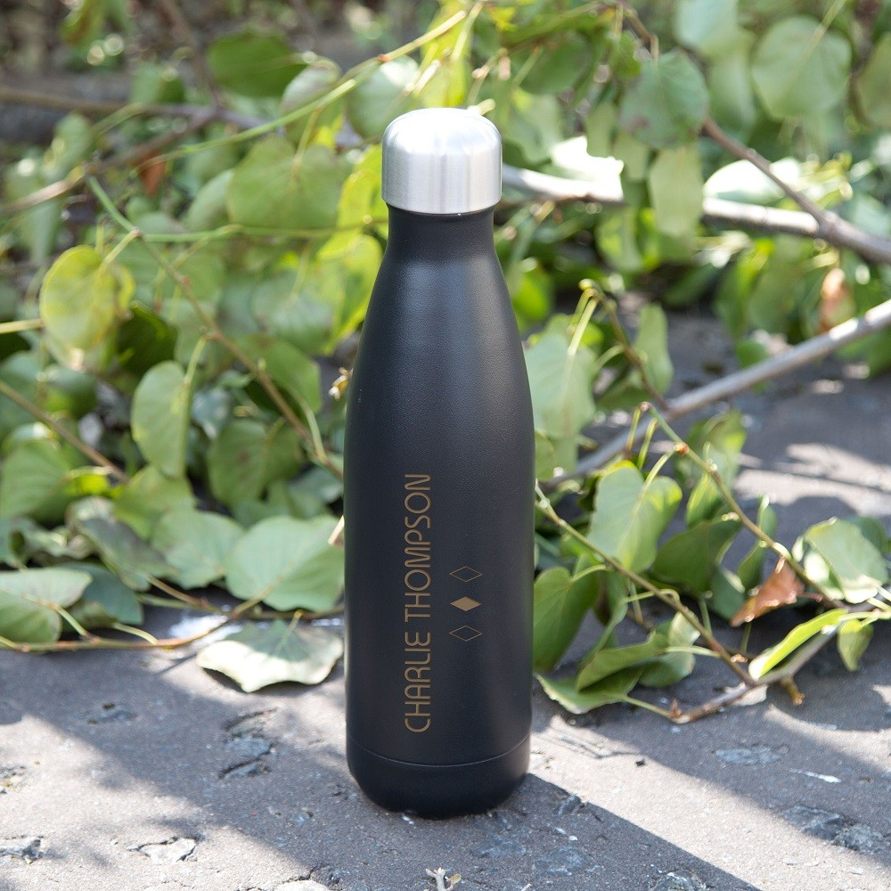 Laser Engraved Black Thermos Bottle. Diamond Design. Any Name