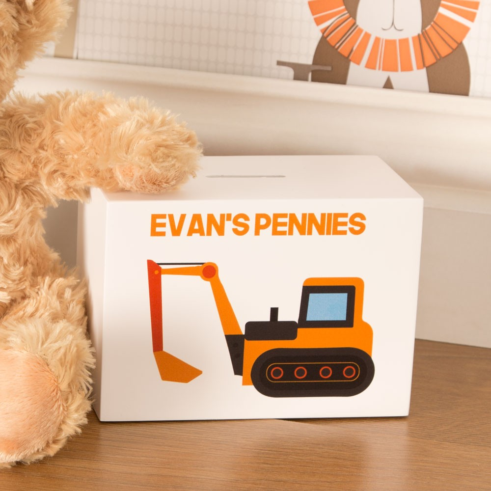 Wooden Digger Personalised Money Box