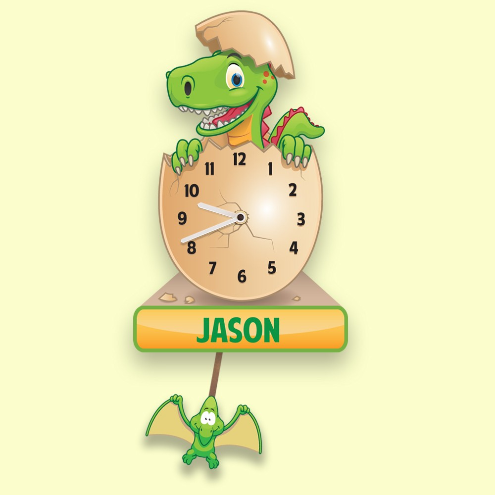Bespoke Dinosaur Pendulum Wall Clock for Boys and Girls