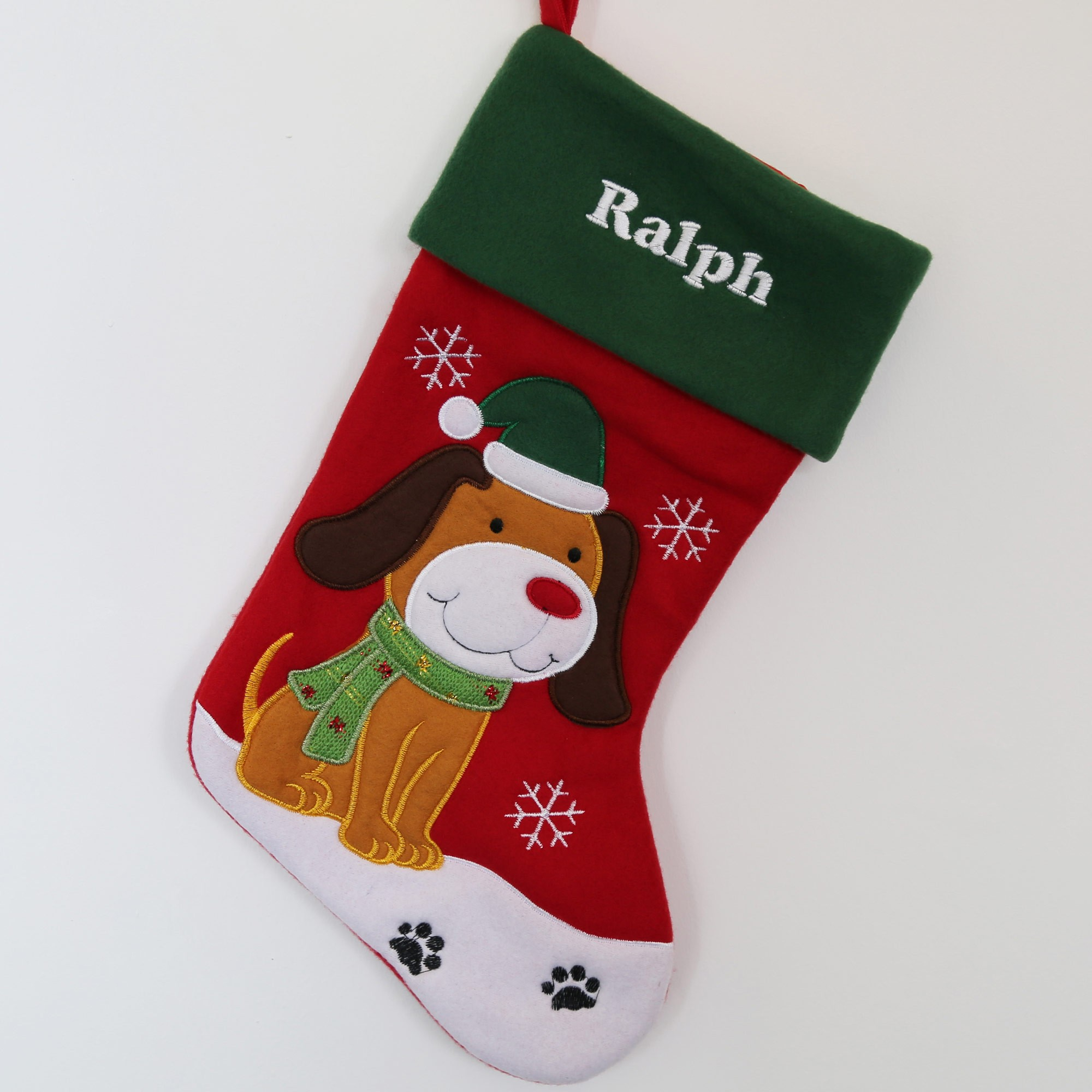 Luxury Pet Dog Christmas Stocking with embroidered Name