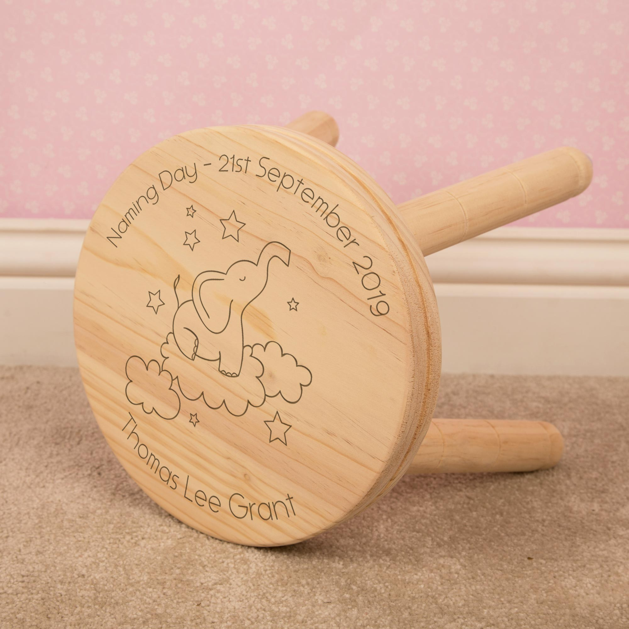 Elephant in Clouds Personalised Stool. Laser Engraved. Any Occasion