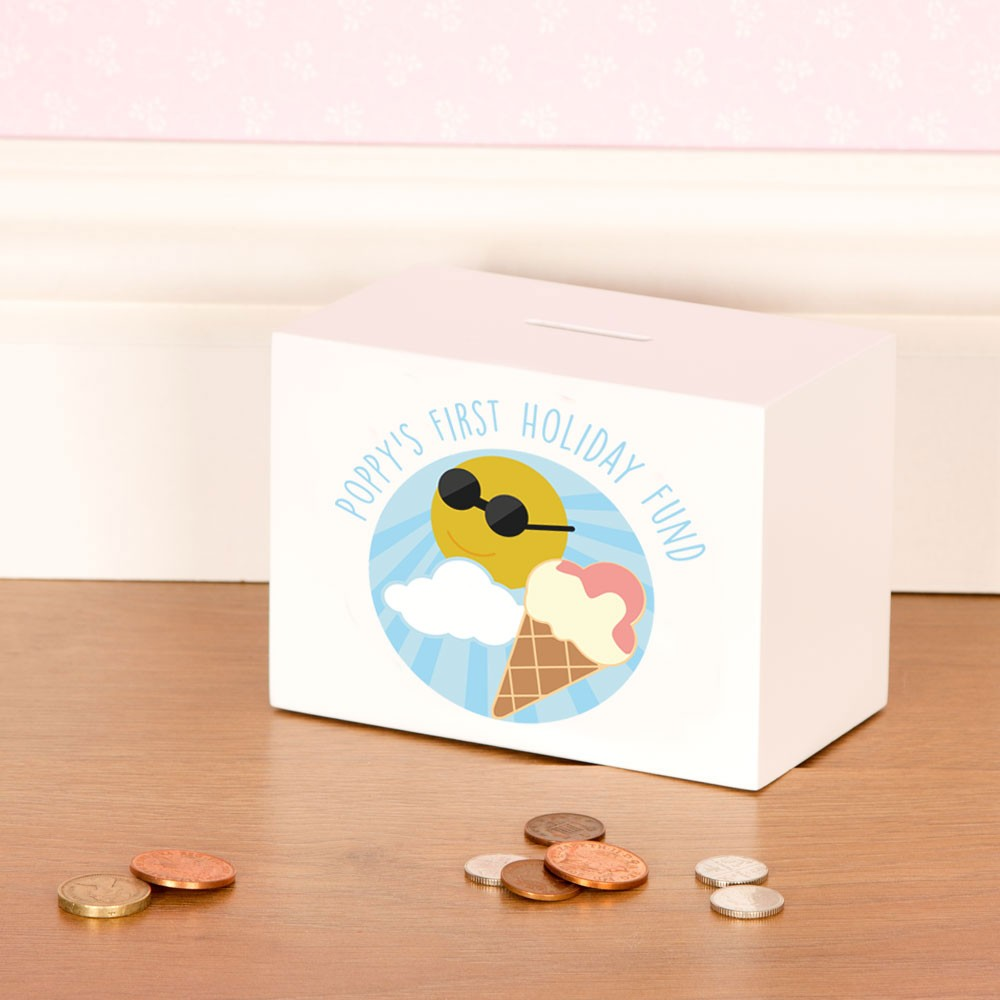 First Holiday Fund Personalised Wooden Money Box