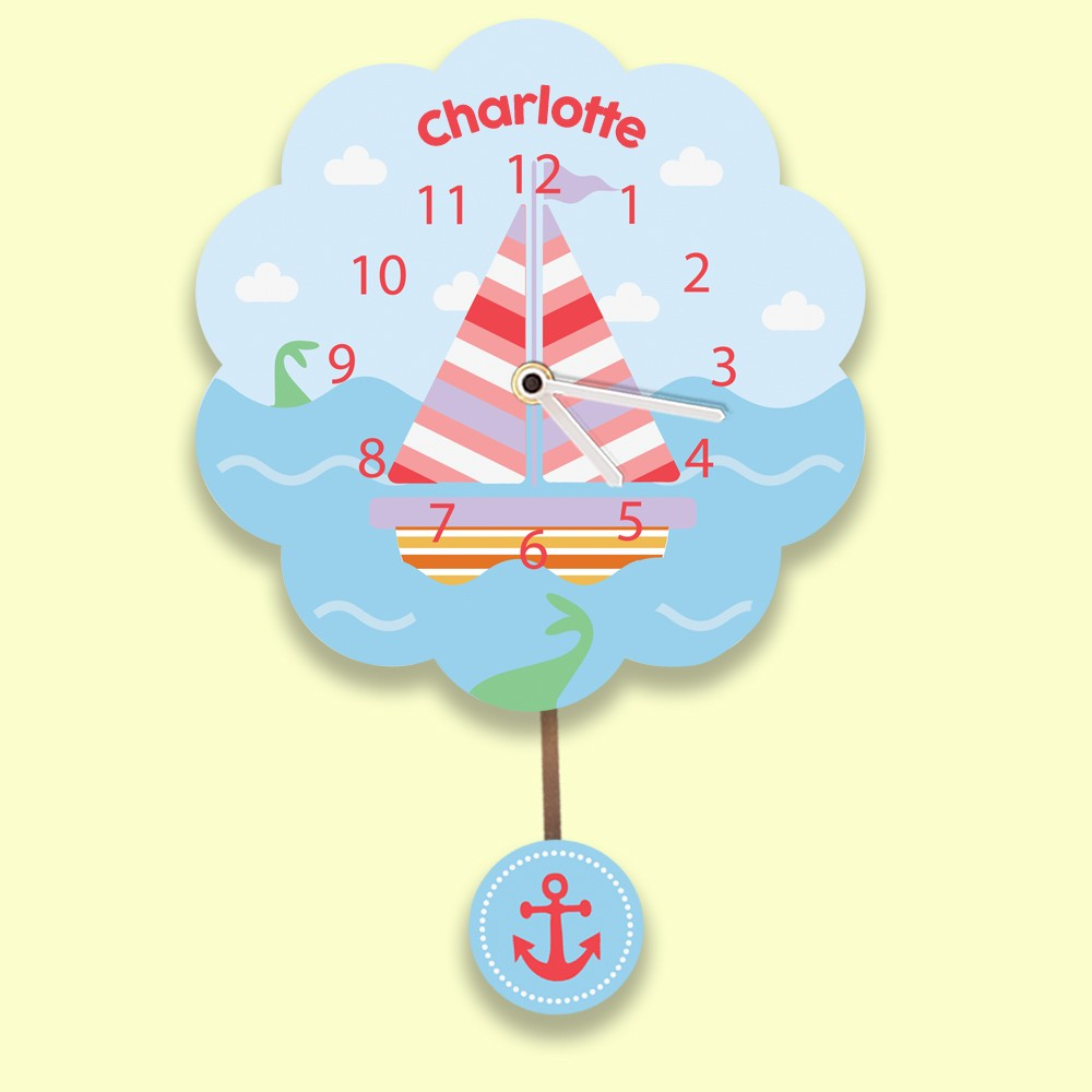 Customised Pink Sailboat Silent Wall Clock For Girls