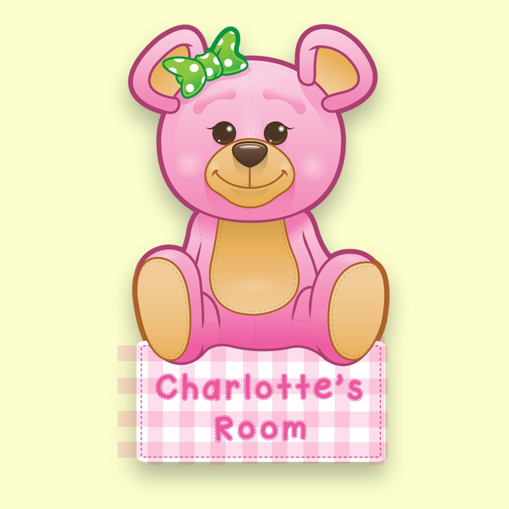 Pink Teddy Bear Bespoke Bedroom Door Plate for little girl