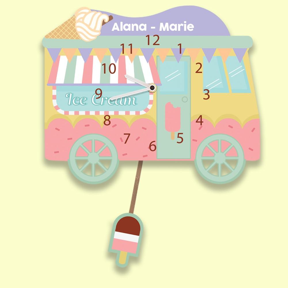 Kids Customised Ice Cream Truck Wall Clock