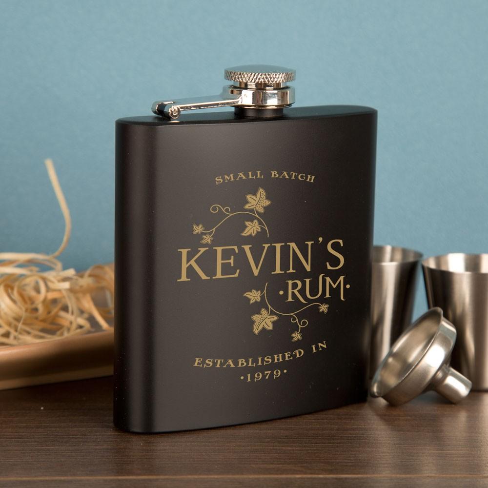 Personalised Rum Lover's Hip Flask Set