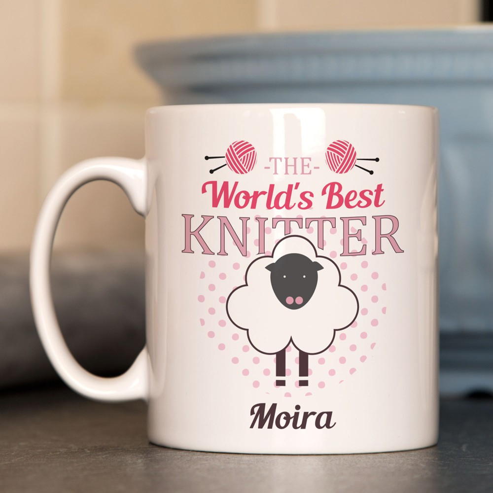 Worlds Best Knitter Personalised Mug for Her.