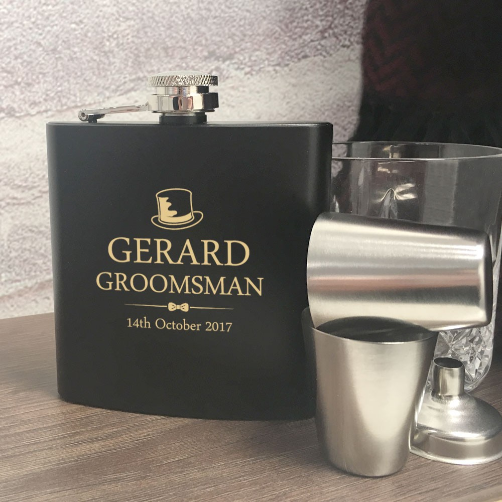 Personalised Groomsman Hip Flask Gift Set