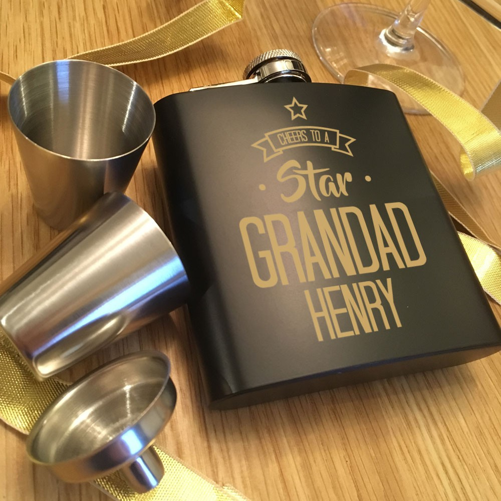 Personalised Star Grandad Hip Flask