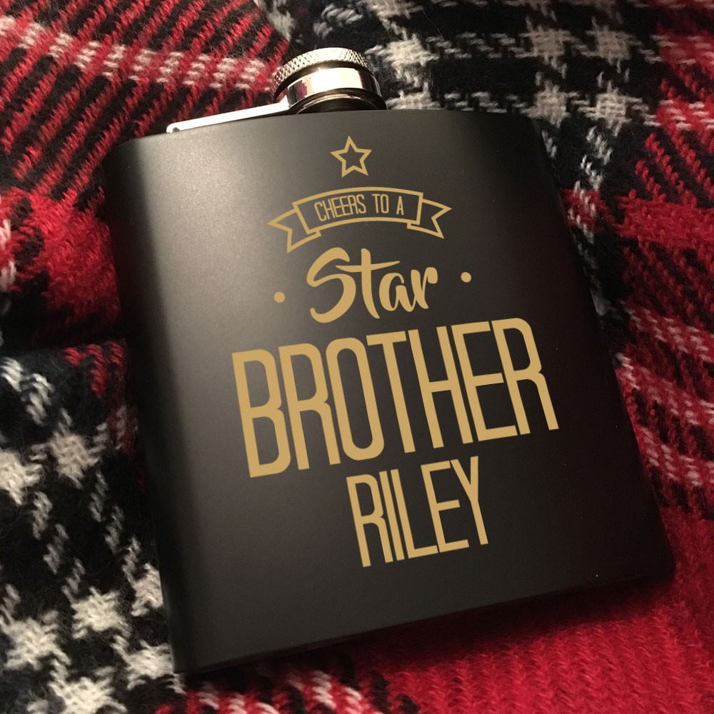 Star Brother Personalised Hip Flask