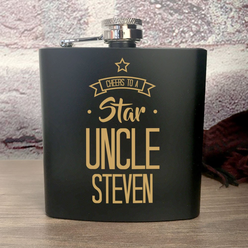 Personalised Star Uncle Hip Flask