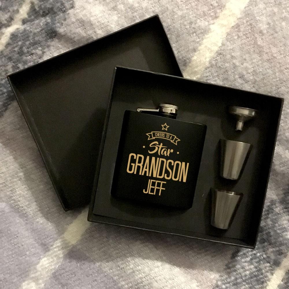 Star Grandson Personalised Hip Flask Set