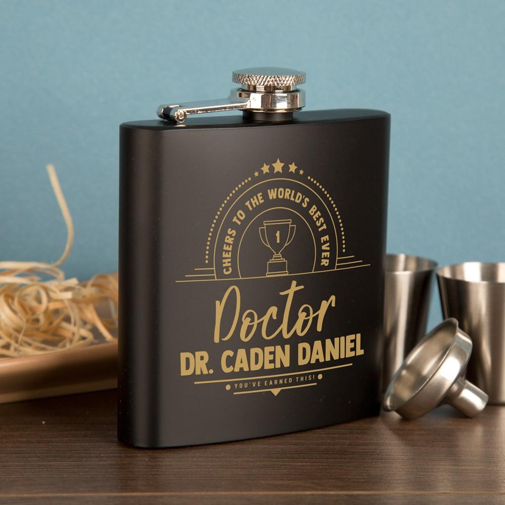 Customised Doctor Engraved Black Hip Flask Gift Set