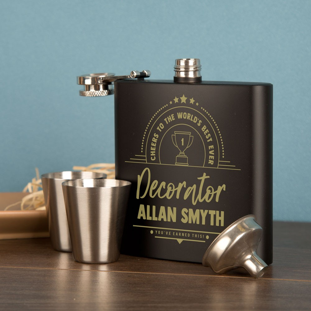 Personalised Decorator Gift Idea. Engraved Hip Flask Gift Set