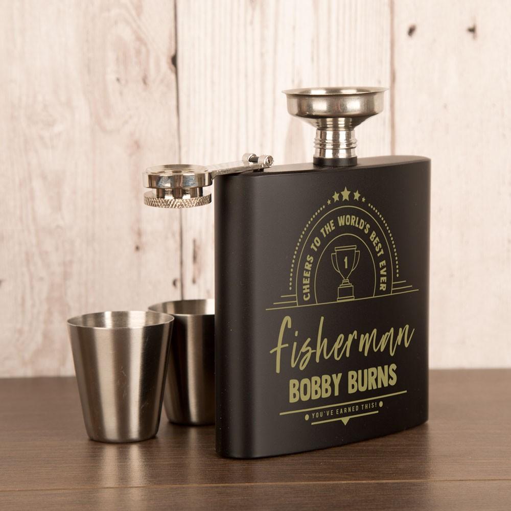 Fisherman Anodised Black Engraved Hip Flask Gift Set