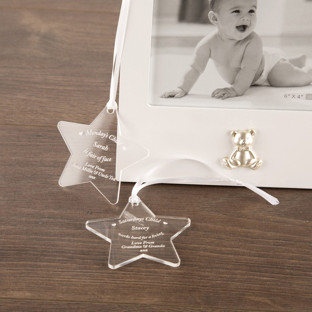 Bespoke Gift Boxed Baby Born On Day Of The Week Star