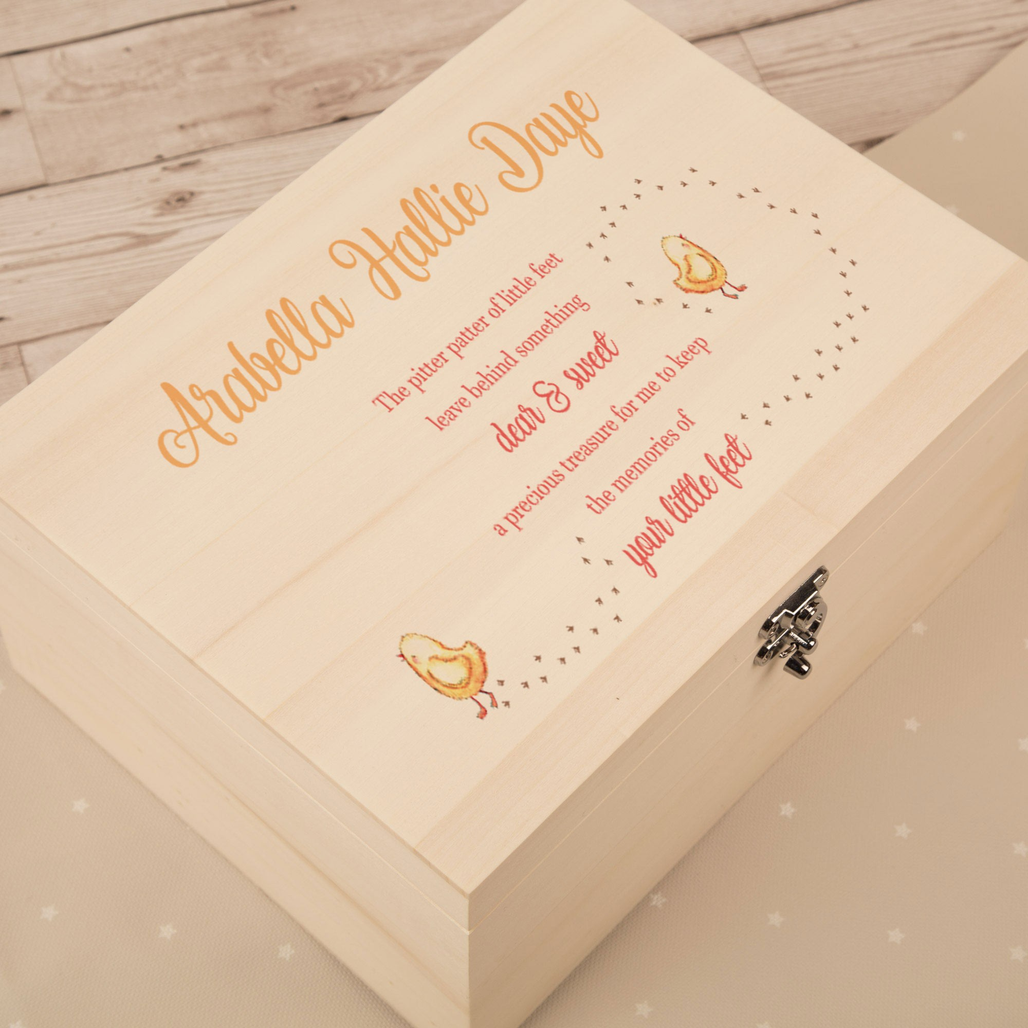 Pitter Patter Baby Feet Baby Girl Keepsake Box. Baby Chic Design