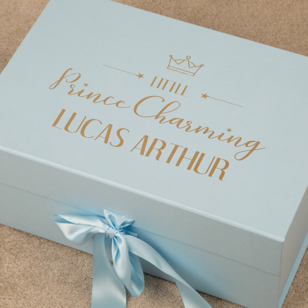 Little Prince Personalised Gold Foil Printed Blue Keepsake Box for a Baby Boy