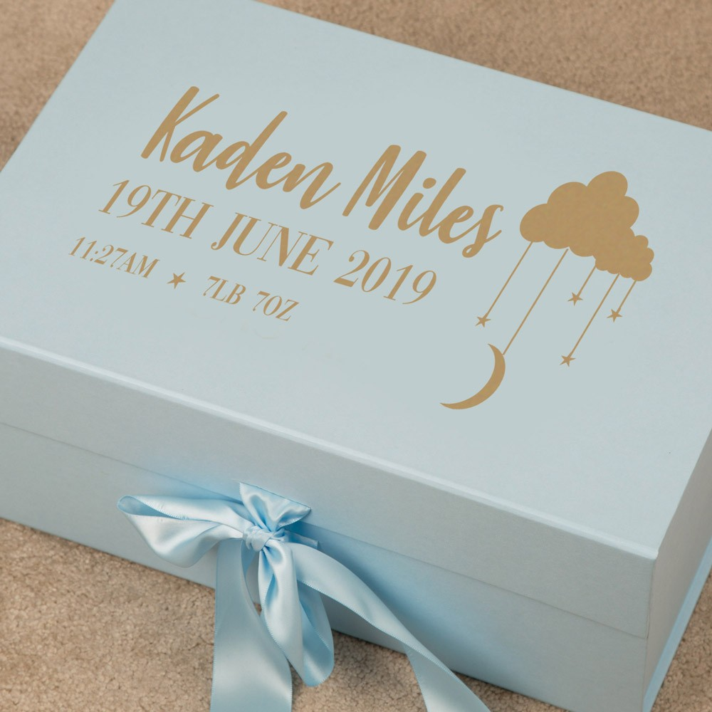 Baby Boy Blue Keepsake Box Newborn Personalised Gift Idea
