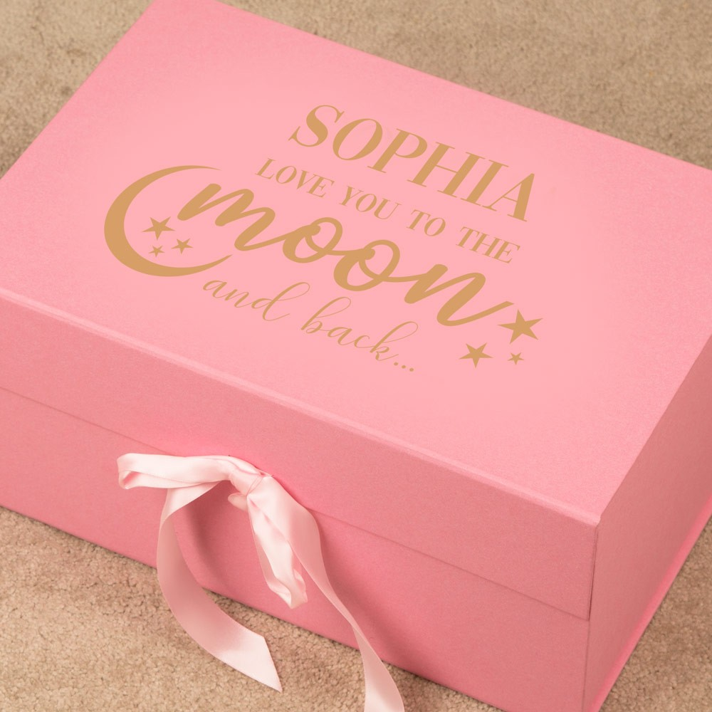 Personalised To the Moon Baby Girl Memory Keepsake Box