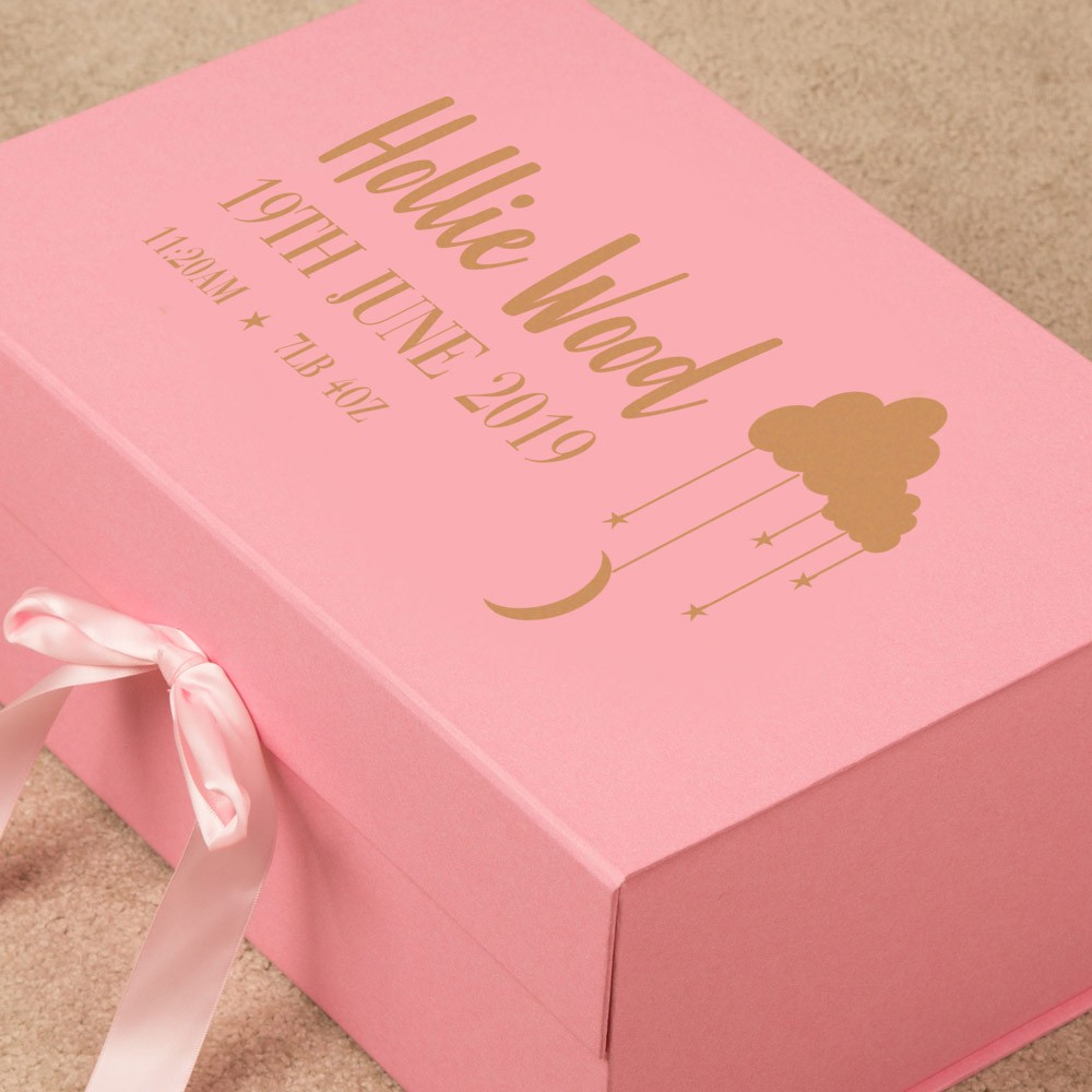 Cloud and Stars Pink Baby Girl Personalised Memory Box. Gold Foil
