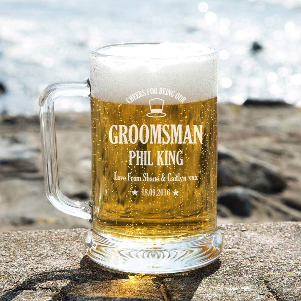 Personalised Laser Engraved Groomsman Glass Pint Tankard