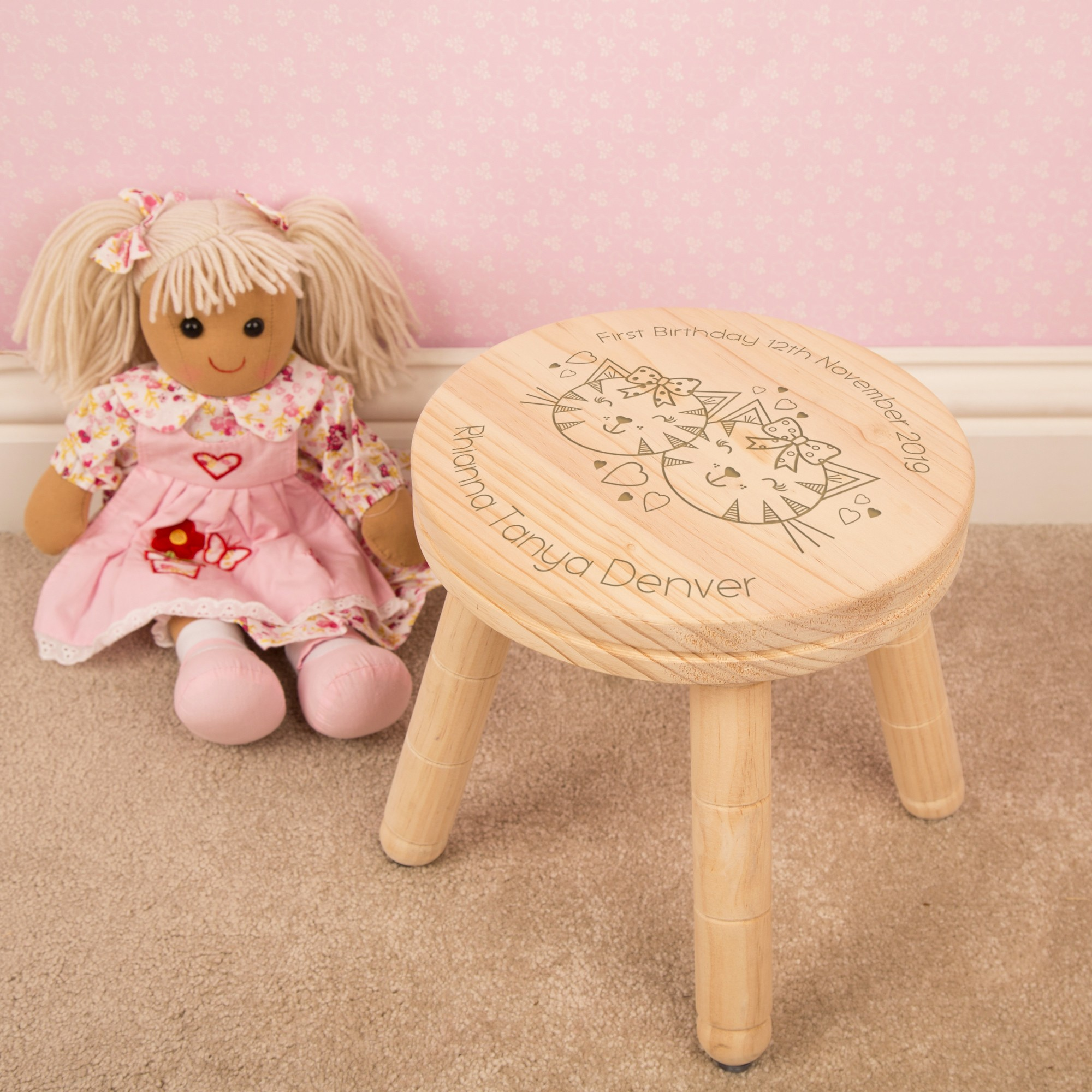 Engraved Kitten Design First Birthday Stool with Name