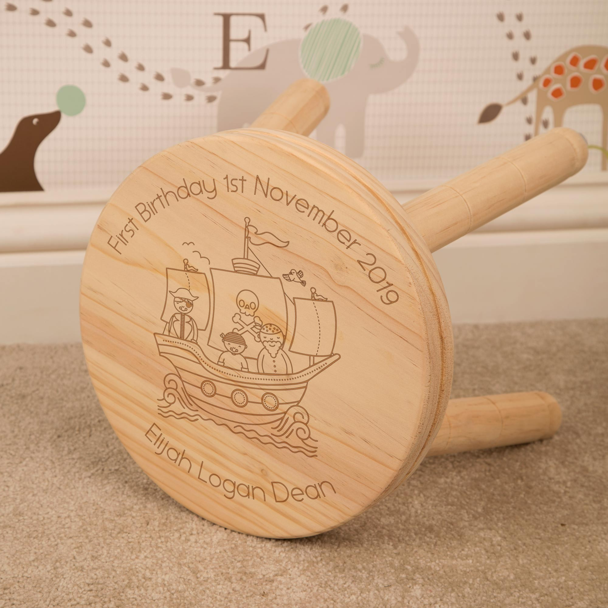 Personalised Laser Engraved Pirate Ship Wooden Stool
