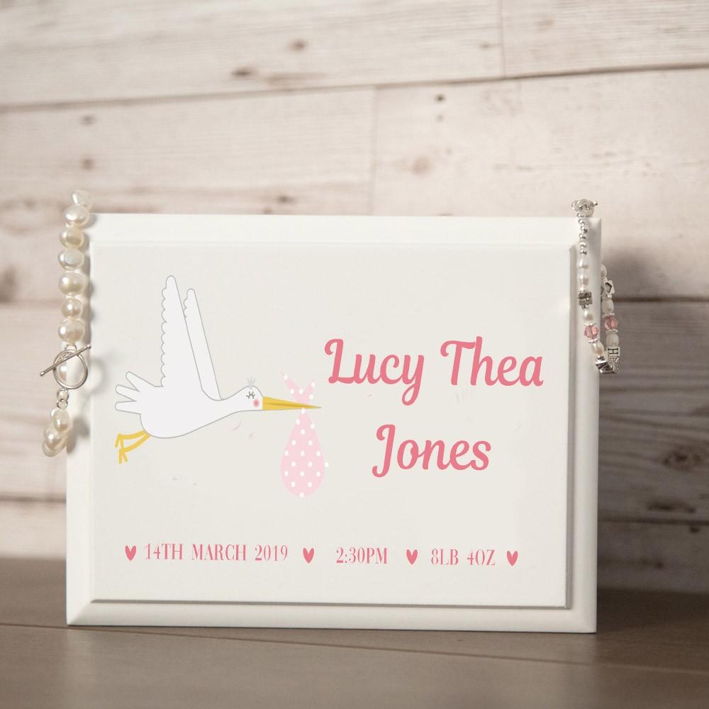 New Baby Stork Design Personalised Jewellery Box