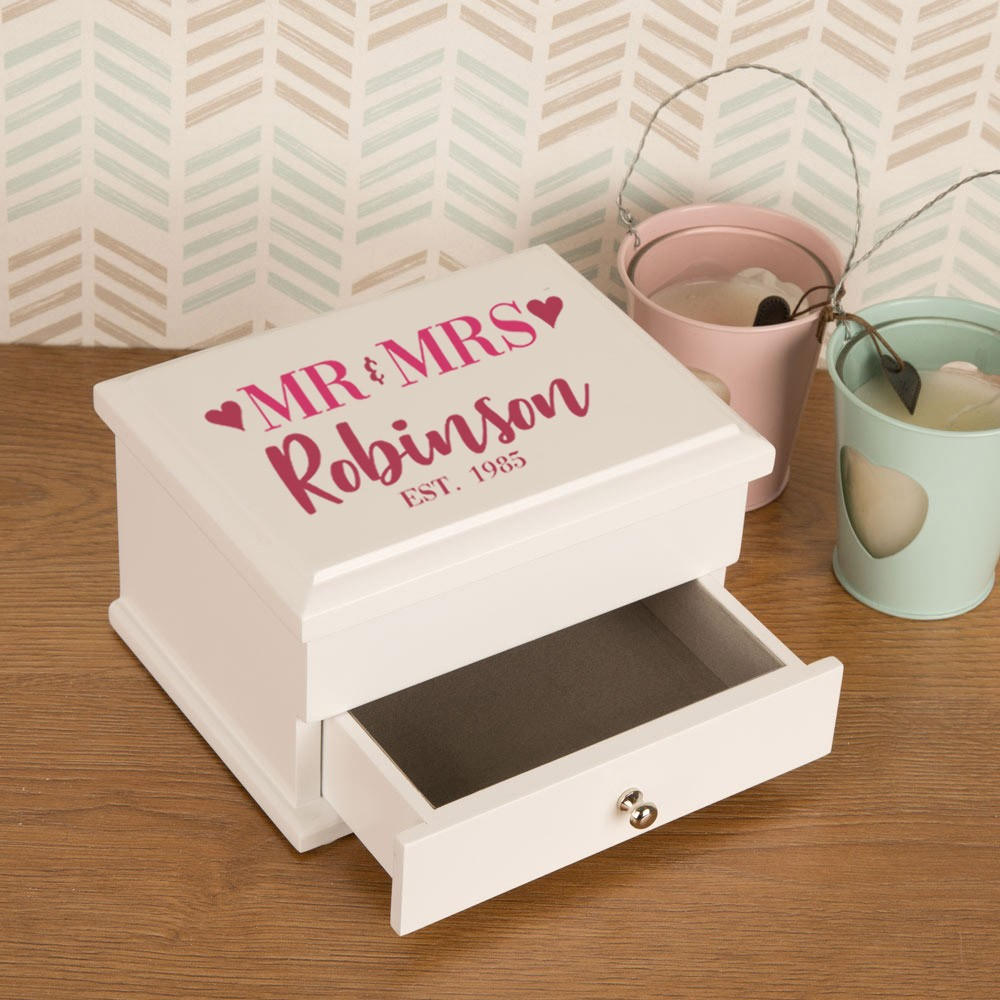 Mr and Mrs Wedding and Anniversary Personalised Jewellery Box