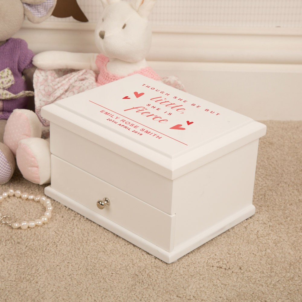 Little But Fierce Personalised Wooden Jewellery Box